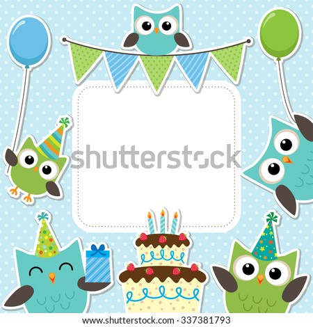 Vector birthday party card with cute owls in blue for boys - stock vector