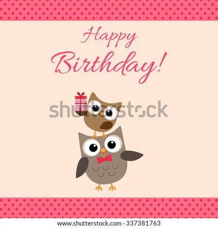 Vector birthday party card with cute owls in pink for girls - stock vector