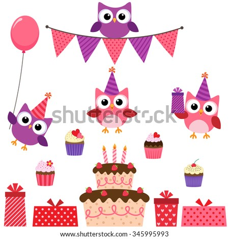 Vector birthday party set with cute owls in pink for girls - stock vector