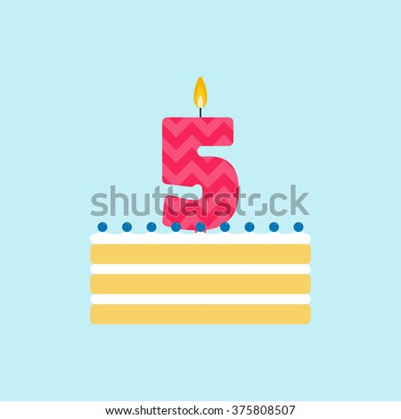 Vector biscuit birthday cake with a candle number 5 in flat style. Icon of cupcake with whipped cream and blueberries. For birthday party invitation and cards design. Celebrating the fifth birthday. - stock vector