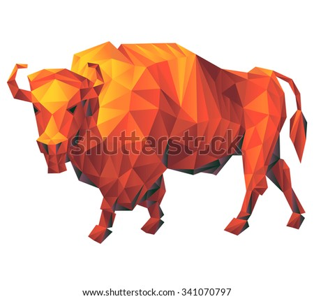 Vector - Bison geometric (illustration of a many triangles) - stock vector