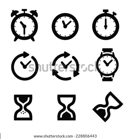 vector black alarm clock icon set on white - stock vector
