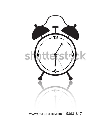 vector black and white alarm clock icon isolated on white background - stock vector