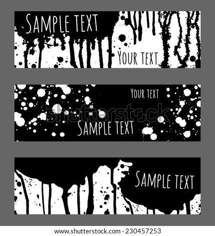 Vector black and white background. Banners set for message. Brush strokes, blobs and splashes design headers. - stock vector
