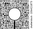 Vector black-and-white background of business icons and place for your text - stock vector