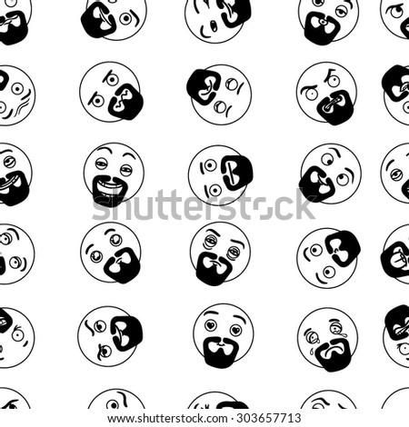Vector Black and White Beard Smile Seamless - stock vector