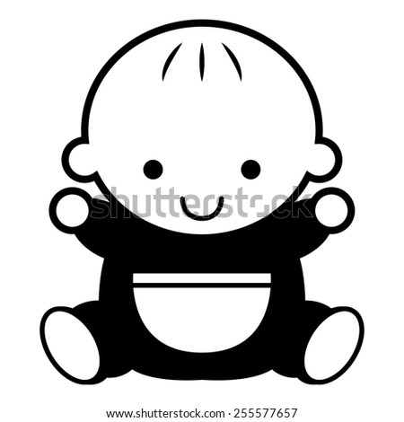 Vector Black And White Cartoon Baby Isolated - stock vector