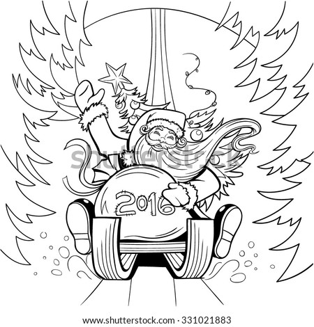 Vector Black and White Christmas Santa Illustration - stock vector