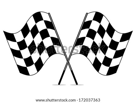 vector black and white crossed racing checkered flags clipart - stock vector