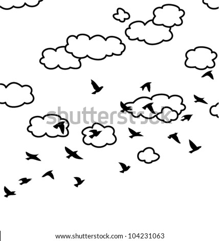 how to draw a bird in the sky
