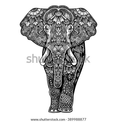 Vector Black and White Henna Elephant Illustration - stock vector