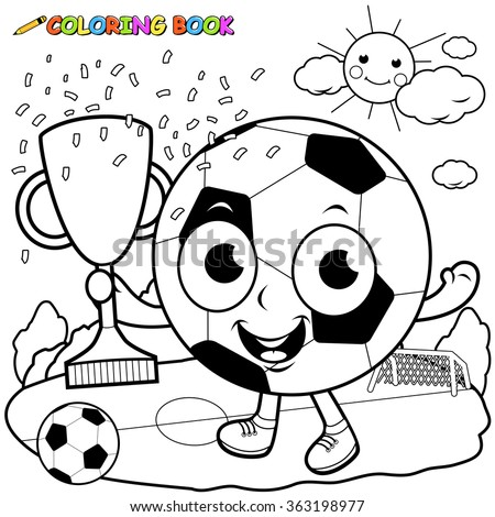 Vector black and white Illustration of a cartoon soccer ball cheering and holding the championship trophy on the football field. Coloring book page - stock vector