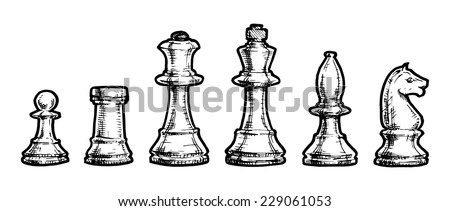 Vector black and white illustration of chess stylized as engraving - stock vector