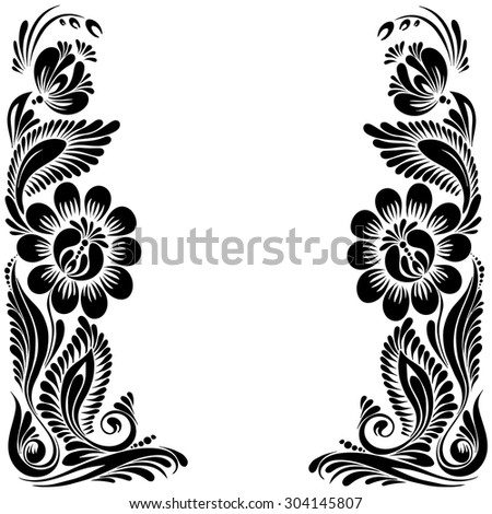 vector Black and white pattern with flowers, an ethnic Ukrainian ornament, Decorative frame  - stock vector