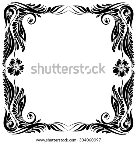 vector Black and white pattern with flowers, an ethnic Ukrainian ornament, Decorative frame corner - stock vector