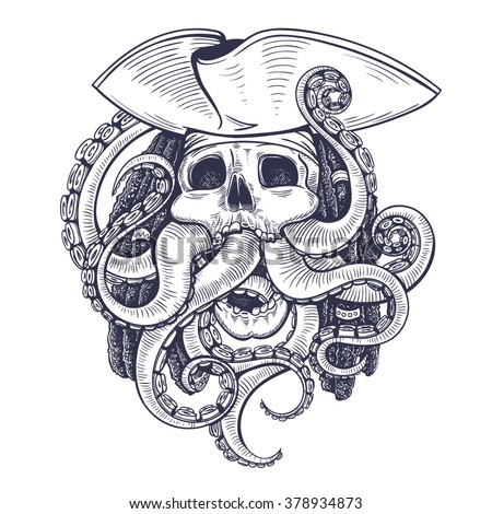 Vector Black and White Pirate Skull Tentacle Illustration - stock vector