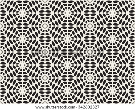 Vector Black and White Rounded Ellipse Lace Star Pattern Abstract Background - stock vector