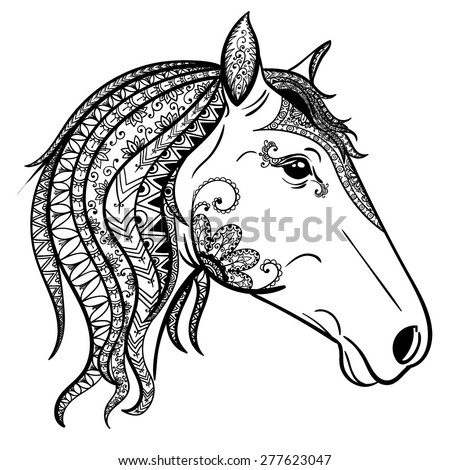 Vector Black and White Tattoo Horse Head - stock vector