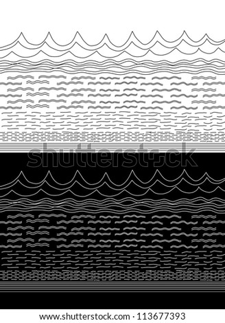 Vector Black and White  Wavy Water Pattern - stock vector