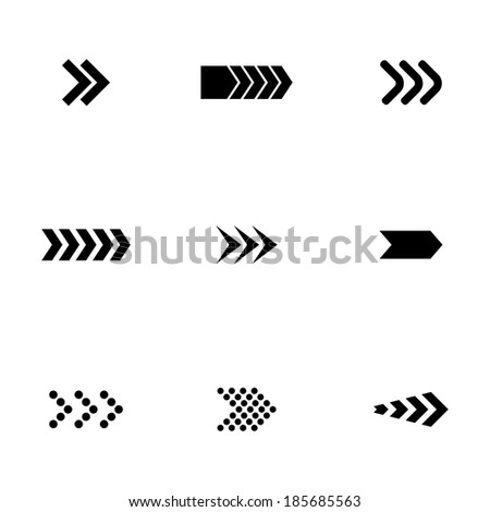 Vector black arrows icons set on white background - stock vector