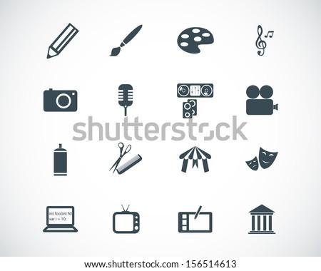 Vector black art icons set - stock vector