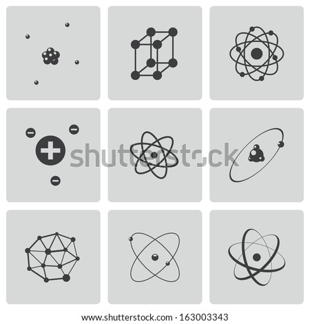 Vector black atom icons set - stock vector