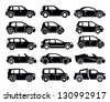 vector black auto icon set on white - stock vector