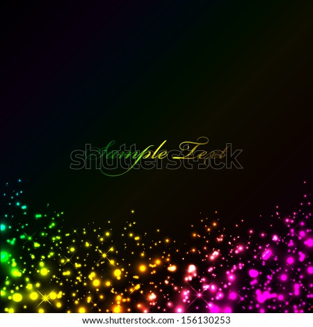 Vector black background with colorful lights - stock vector