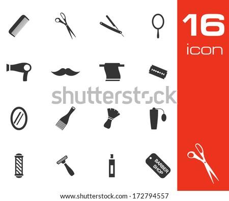 Vector black barber icon set on white background - stock vector