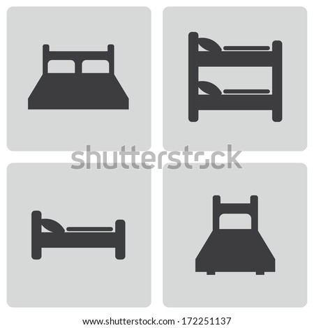 Vector black bed icons set on white background - stock vector