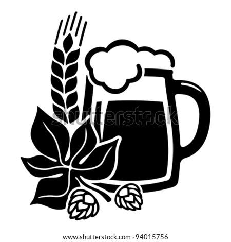 Vector black beer icon with hops. All white areas are cut away from icons and black areas merged. - stock vector