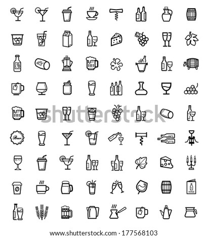 vector black beverages icons set - stock vector