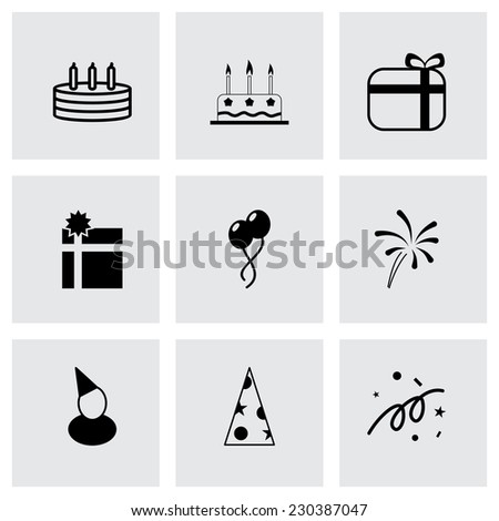 Vector black birthday icon set on grey background - stock vector