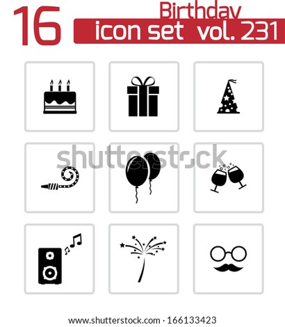 Vector black birthday icons set - stock vector