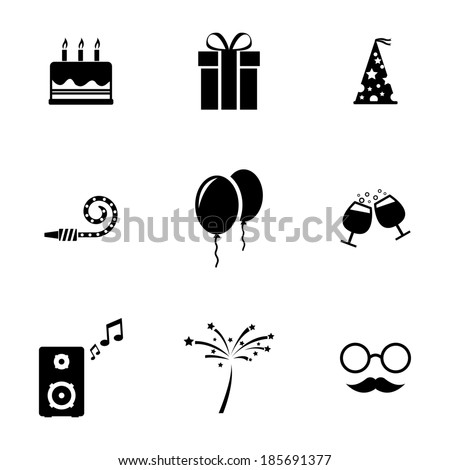 Vector black birthday icons set on white background - stock vector