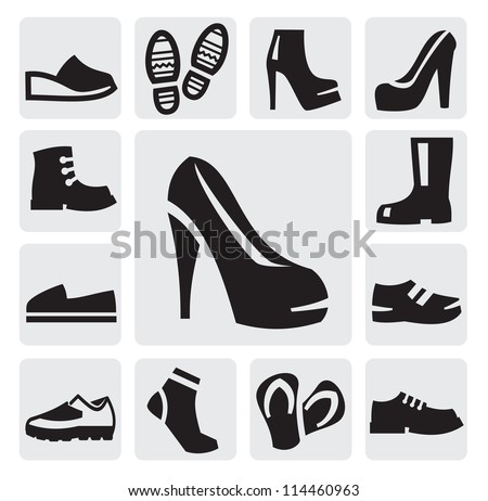 vector black boots men and women icons set on gray - stock vector