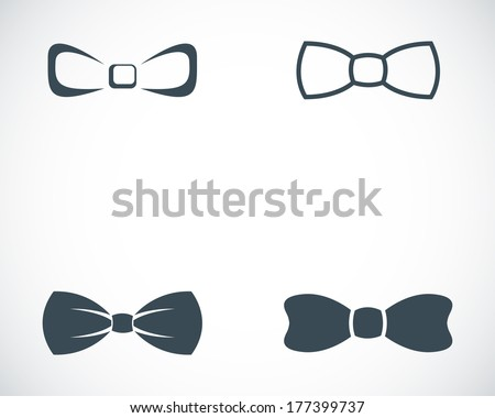 Vector black bow ties icons set on white background - stock vector
