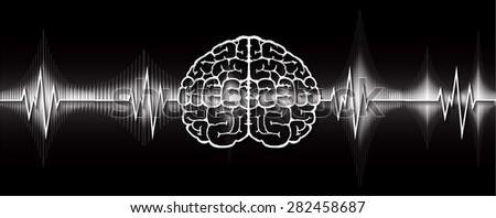 vector black brain processes technology, creative idea concept. wave. ecg, ekg, electrocardiogram. - stock vector