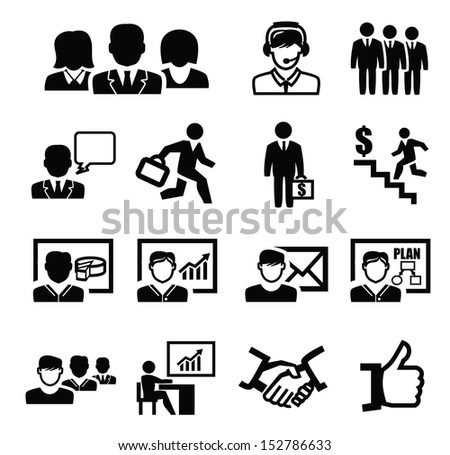 vector black business persons icons set on white - stock vector