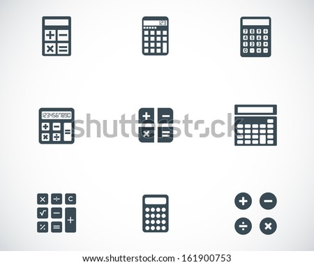 Vector black calculator icons set - stock vector