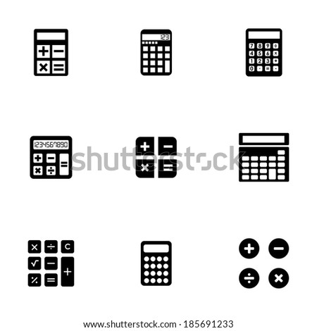 Vector black calculator icons set on white background - stock vector