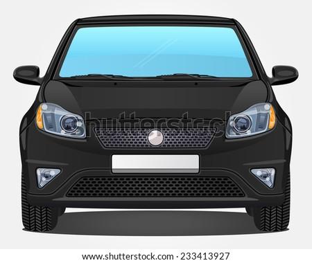 Vector black Car - Front view - stock vector
