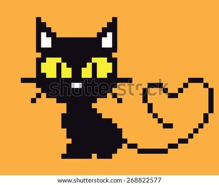 Vector black cat. - stock vector