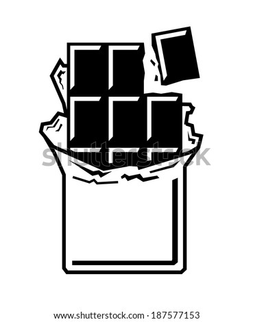vector black chocolate bar icon on white background - stock vector