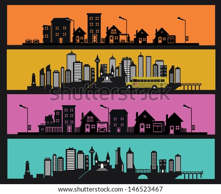 vector black city icons set - stock vector