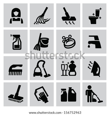 vector black cleaning icons set on gray - stock vector