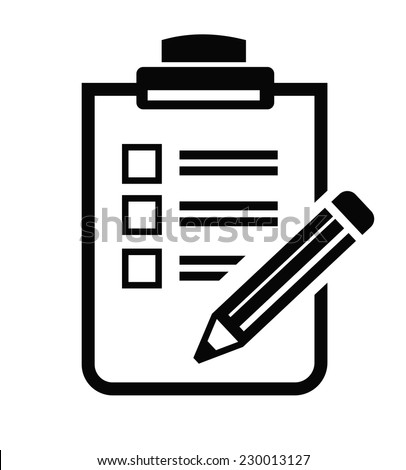 vector black Clipboard icon on white background - stock vector