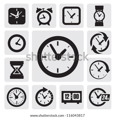 vector black clocks icons in the gray squares - stock vector