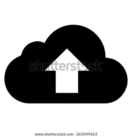 vector black cloud with arrow icon on white background. eps 10. - stock vector