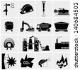 vector black coal mining industry icons set - stock vector
